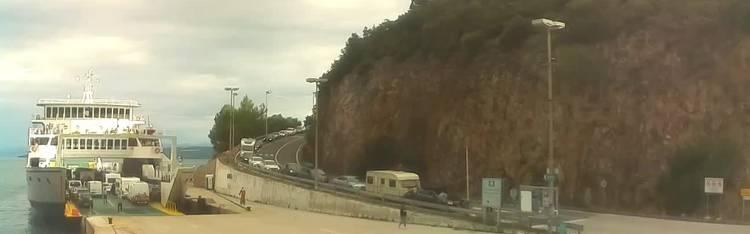 Livecam Webcam Cres - Ferry port Merag - Krk on Cres island